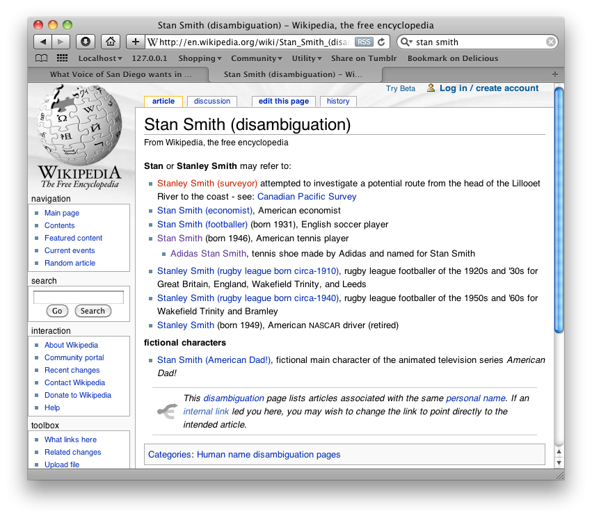 A disambiguation page on Wikipedia. Stan Smith can mean a lot of things.