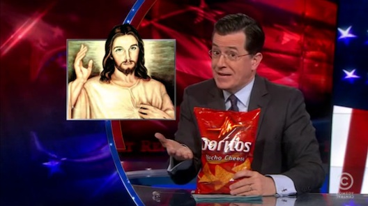 Deliciously over-the-top product placement on the Colbert Report